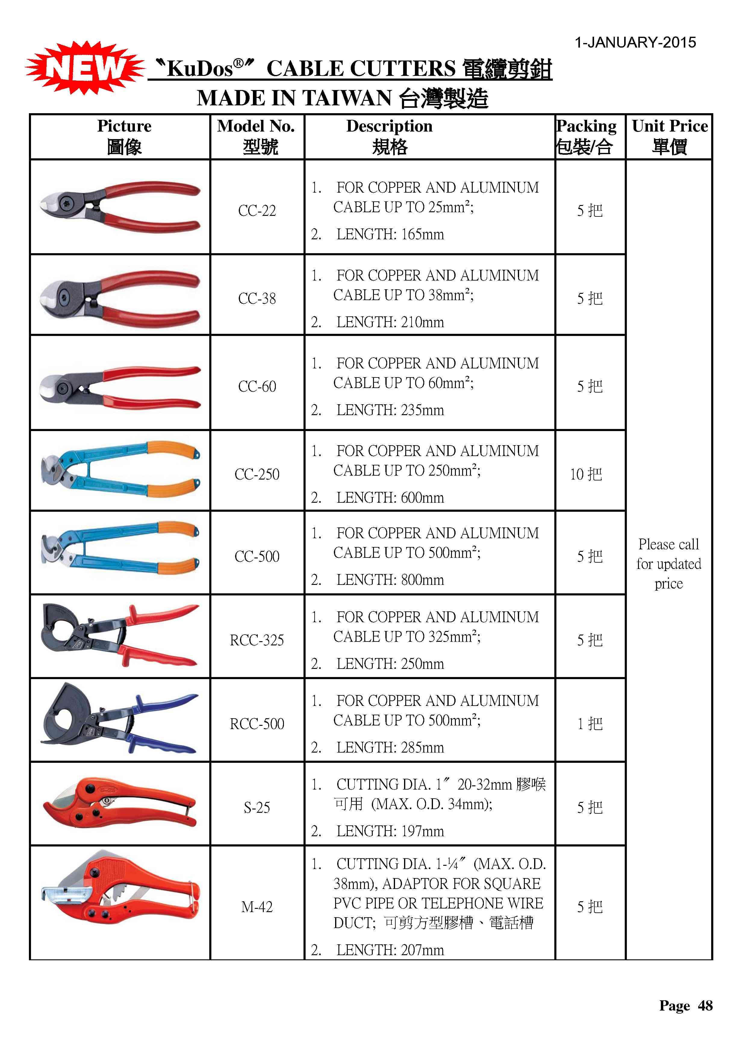 P48 - KUDOS牌電纜剪鉗1